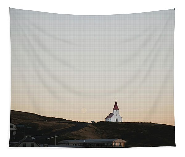 Church On Top Of A Hill And Under A Mountain, With The Moon In The Background. Tapestry