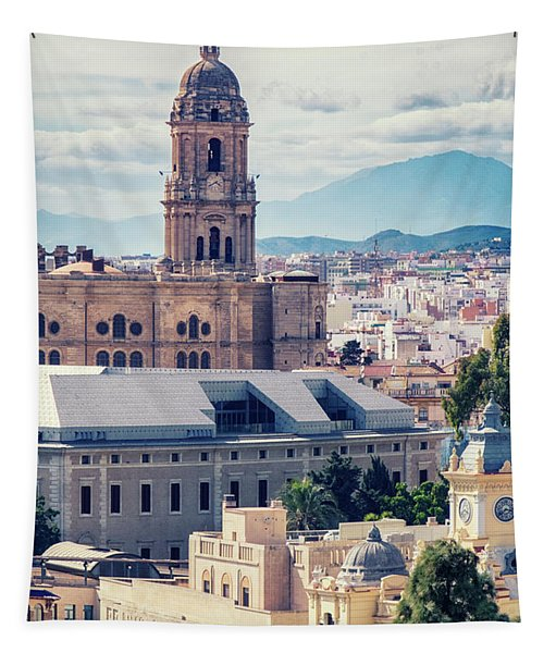 cityscape at the Cathedral, City Hall , Malaga Tapestry