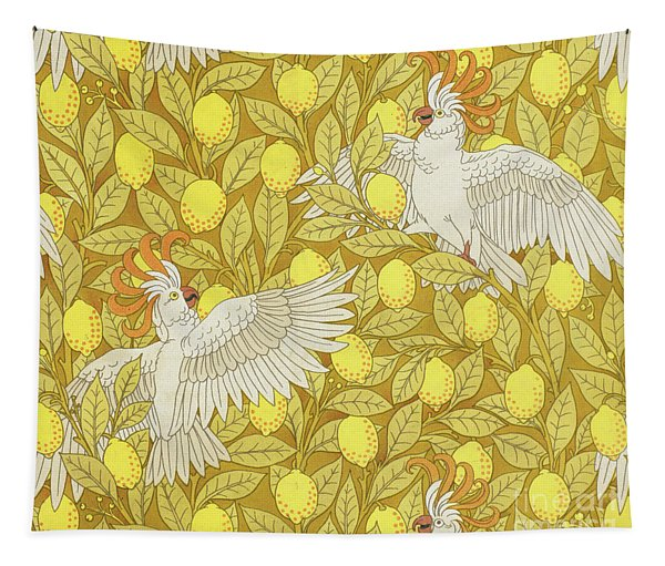 Cockatoos With Lemons Tapestry