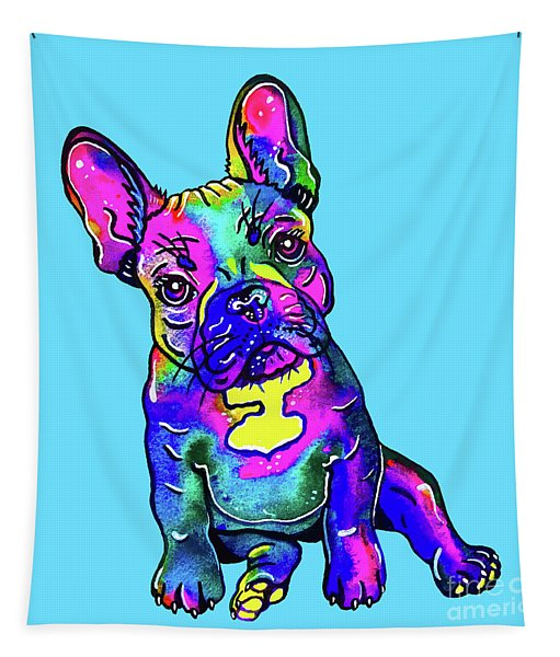 Colorful French Bulldog On Blue Tapestry