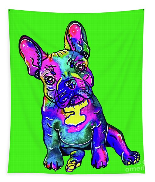Colorful French Bulldog On Green Tapestry