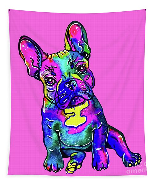 Colorful French Bulldog On Pink Tapestry