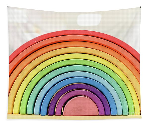 Colorful Waldorf Wooden Rainbow In A Montessori Teaching Pedagogy Classroom. Tapestry