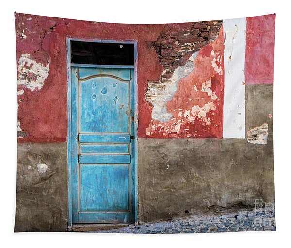 Colorful Wall With Blue Door Tapestry