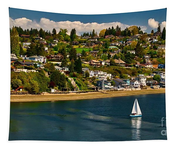 Commencement Bay,washington State Tapestry