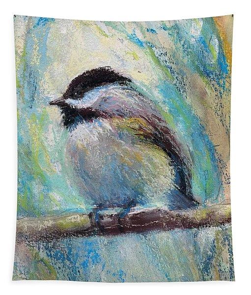 Content Chickadee Tapestry