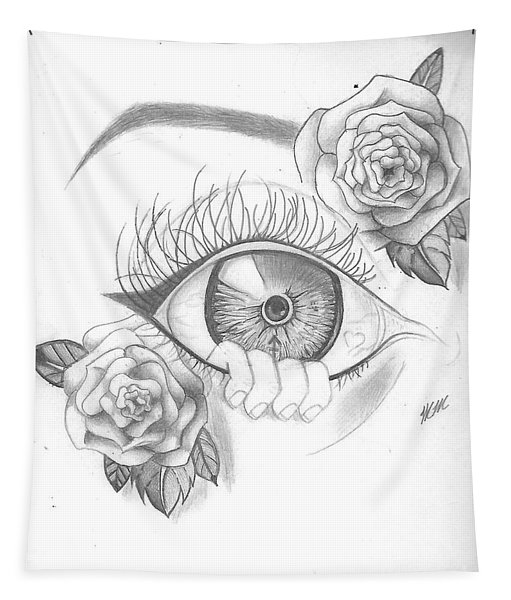 Creepy Eye And Rose Tapestry