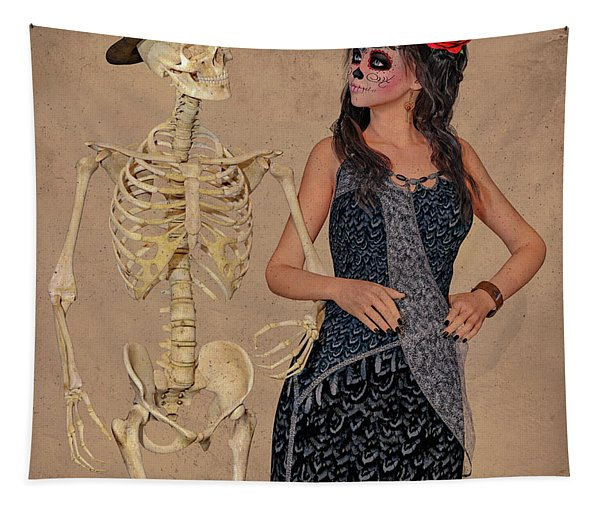 Day Of The Dead Costume Party Tapestry