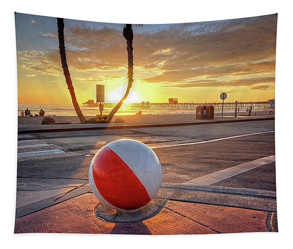 Decorative Beach Ball At Oceanside Pier Tapestry