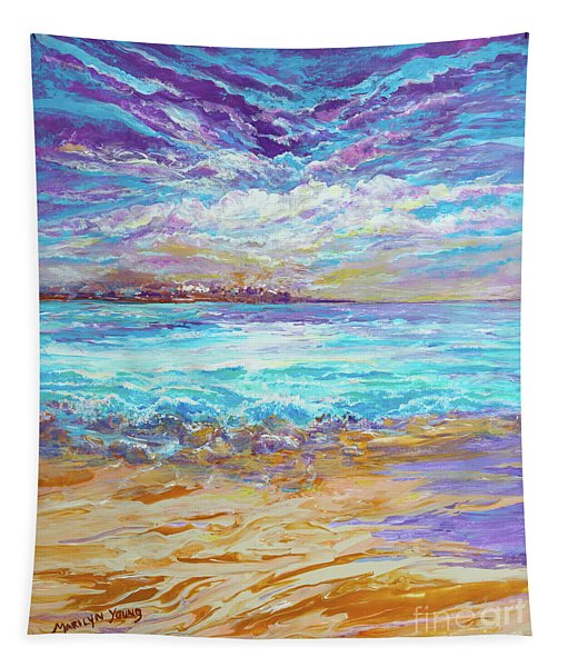 Dusk At The Beach Tapestry