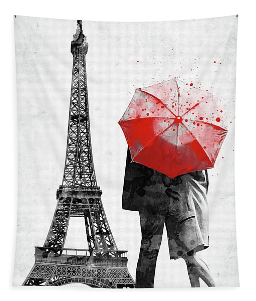 Eiffel Tower With Lovers And Red Umbrella Tapestry