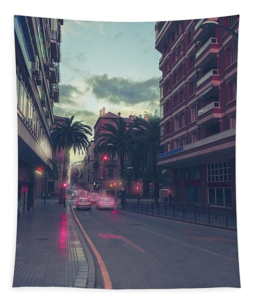 evening street in Malaga Tapestry