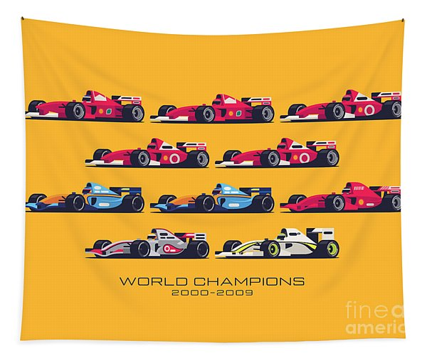 F1 World Champions 2000s - Yellow Tapestry