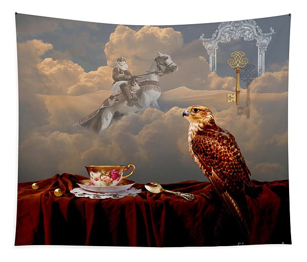 Falcon With Gold Key Tapestry