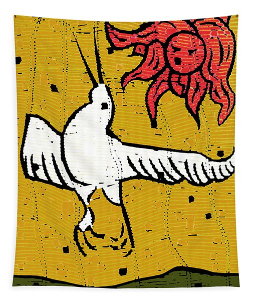Flying Bird And Red Sun Face Tapestry