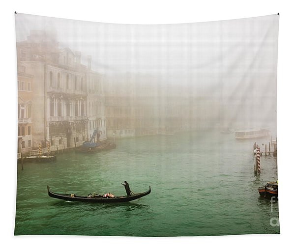Foggy Morning On The Grand Canale, Venezia, Italy Tapestry