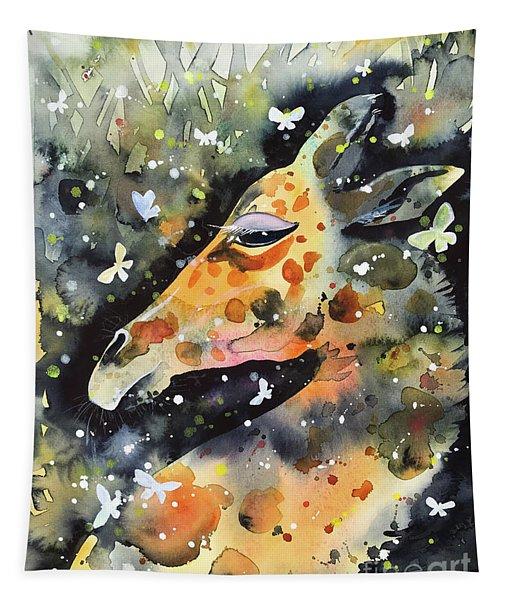 Giraffe And Butterflies Tapestry