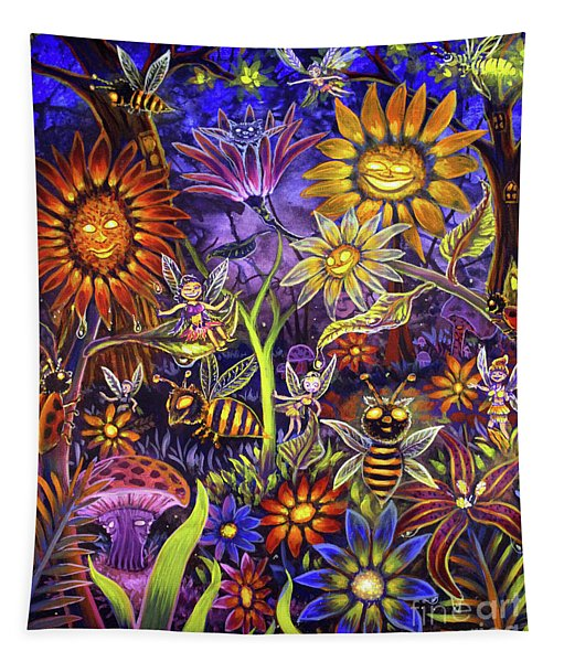Glowing Fairy Forest Tapestry