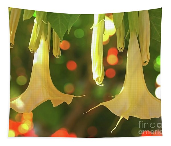 Golden Angel Trumpet Tapestry