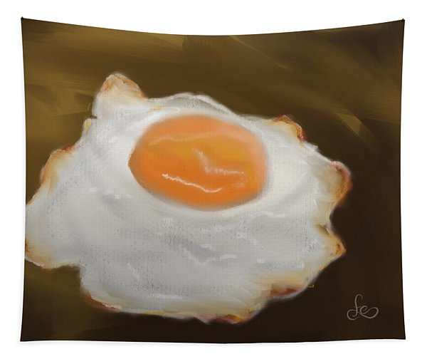 Tapestry featuring the pastel Golden Fried Egg by Fe Jones