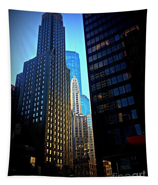 Golden Hour Reflections - City Of Chicago Tapestry