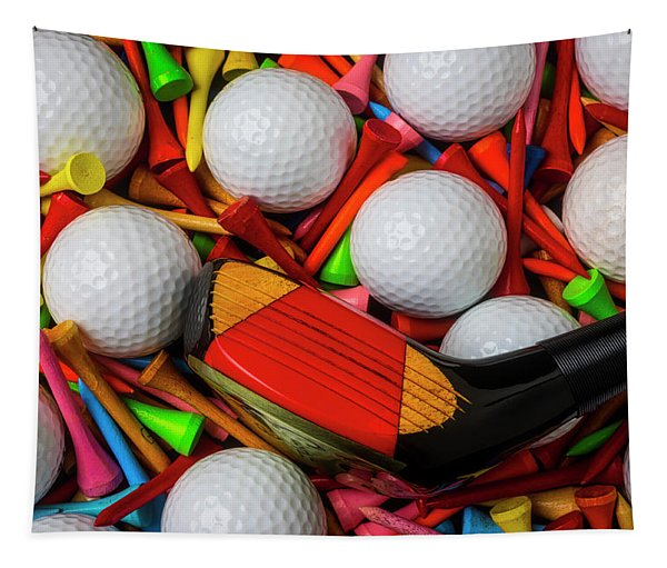 Golf Club With Balls And Tees Tapestry