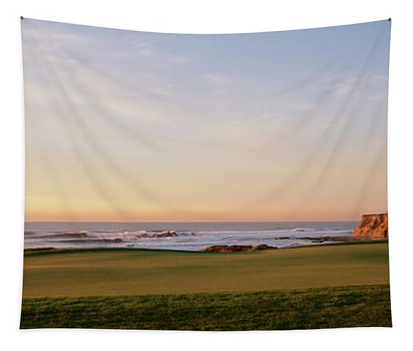 Golf Course On The Coast, Half Moon Tapestry