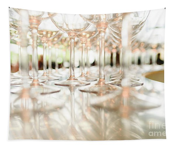 Group Of Empty Transparent Glasses Ready For A Party In A Bar. Tapestry