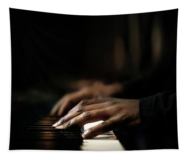 Hands Playing Piano Close-up Tapestry