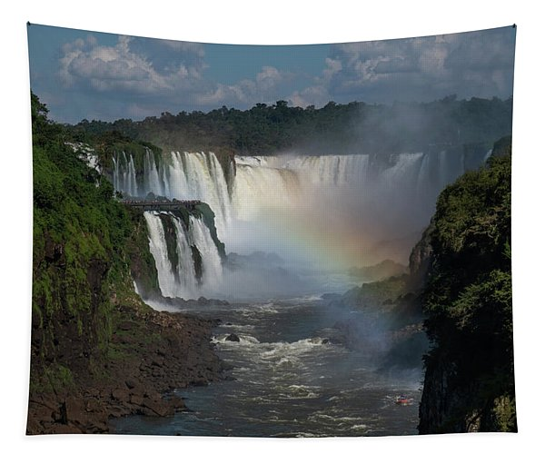Iguazu Falls With A Rainbow Tapestry