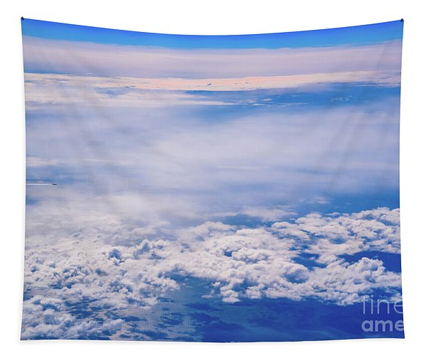 Intense Blue Sky With White Clouds And Plane Crossing It, Seen From Above In Another Plane. Tapestry