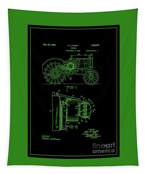 John Deere Tractor Patent 1934 Green On Black Tapestry