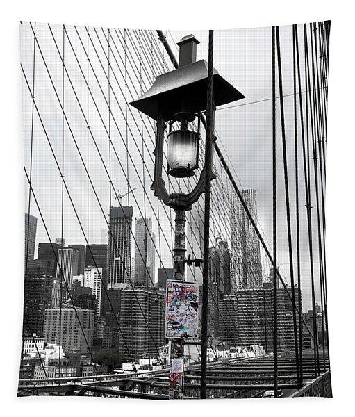 Lamp Post On Brooklyn Bridge Tapestry