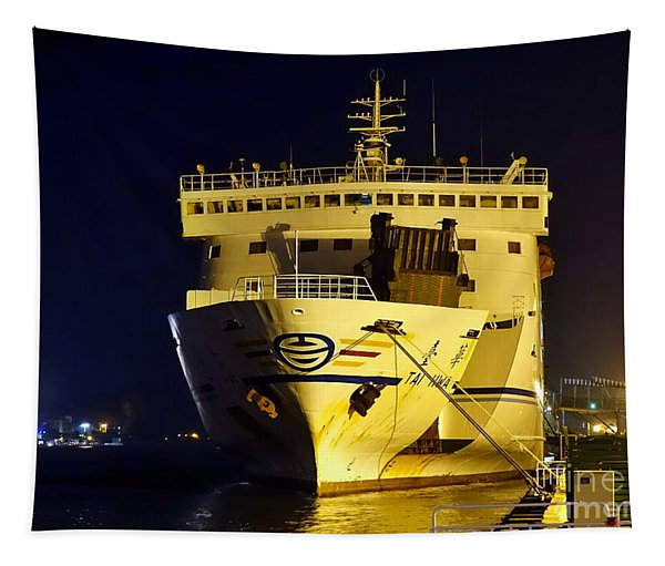 Large Ferry Docked In Port By Night Tapestry