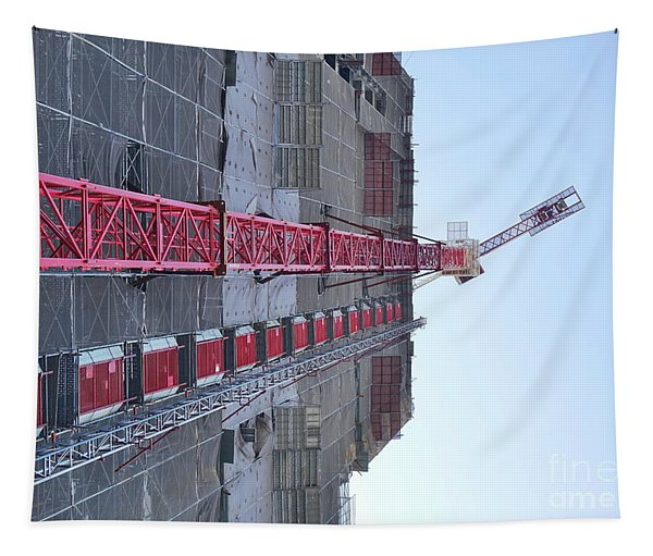 Large Scale Construction Site With Crane Tapestry