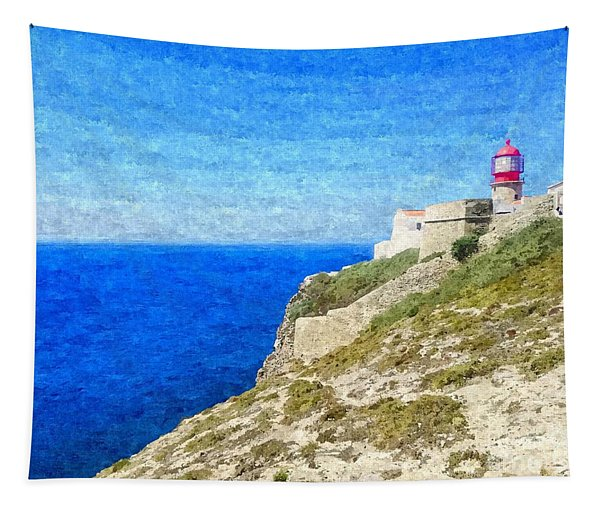 Lighthouse On Top Of A Cliff Overlooking The Blue Ocean On A Sunny Day, Painted In Oil On Canvas. Tapestry