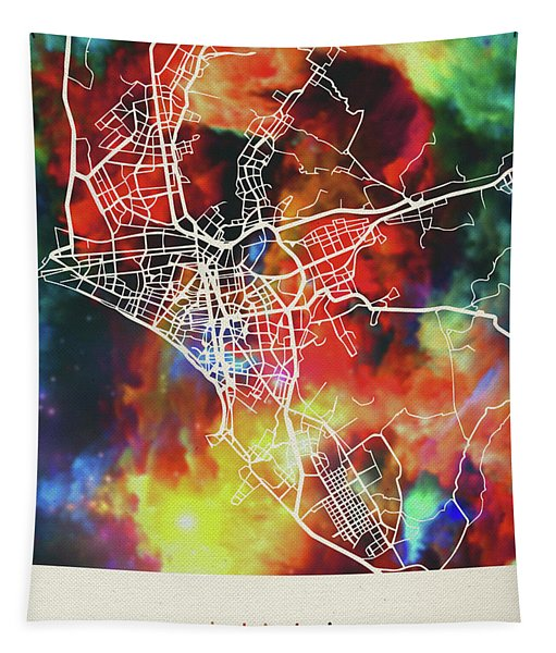 Lima Peru Watercolor City Street Map Tapestry