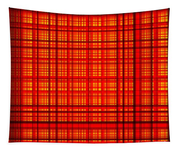 Lines And Squares Crossed In Red Color - Ddf650 Tapestry