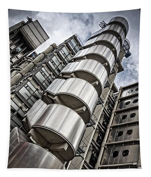 Lloyds Building In London Tapestry by Delphimages Photo Creations