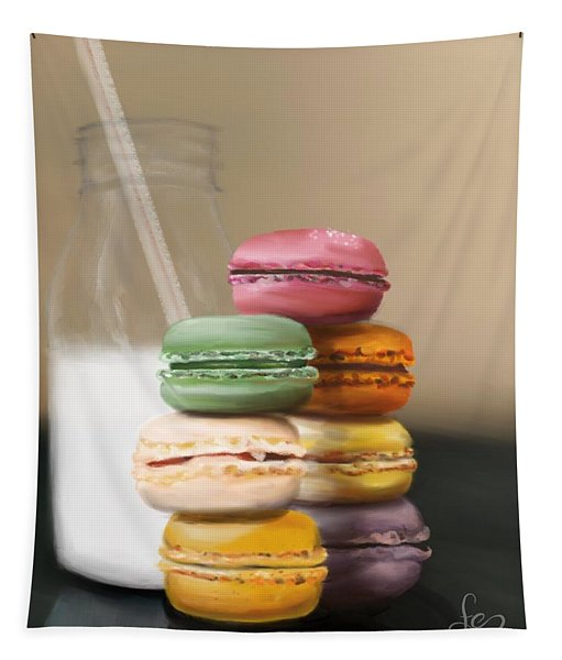 Tapestry featuring the pastel Macaroons  by Fe Jones