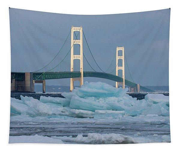 Mackinac Bridge In Ice 2161809 Tapestry