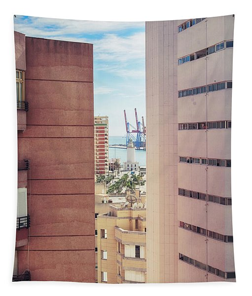 Malaga Port And Light House  Tapestry