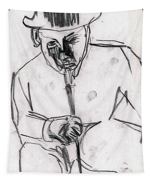 Man In Top Hat And Cane Tapestry