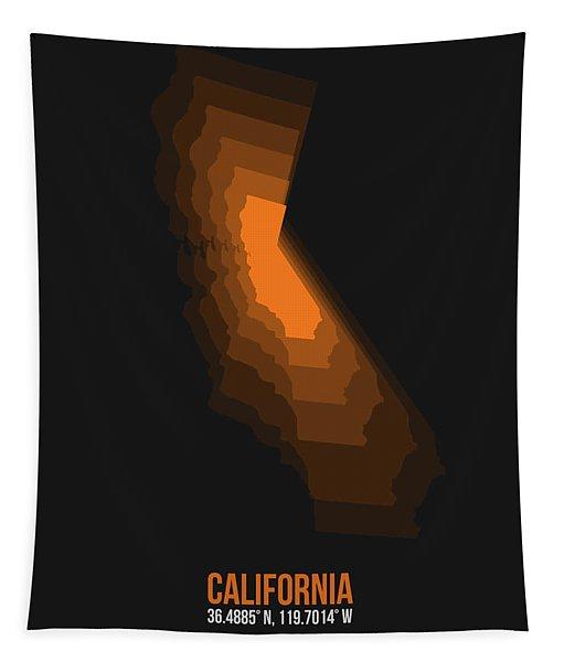 Map Of California Orange Tapestry