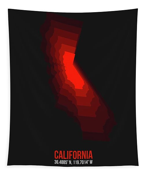 Map Of California Red Tapestry