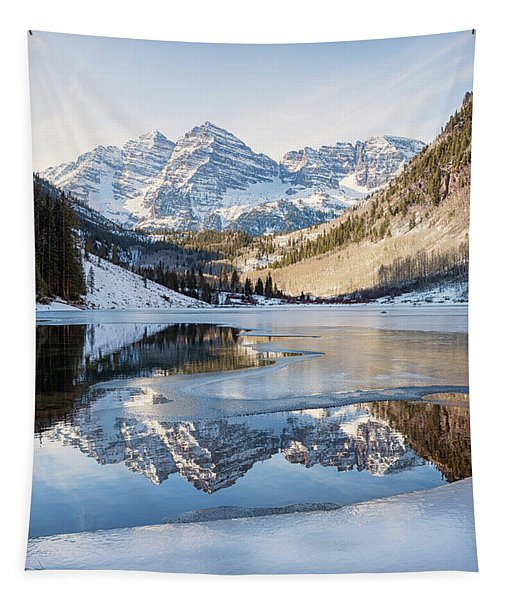 Maroon Bells Reflection Winter Tapestry