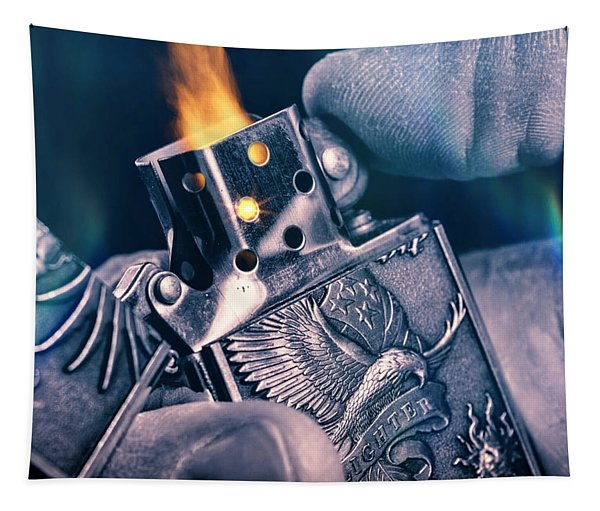 Metal Lighter In Hand Tapestry