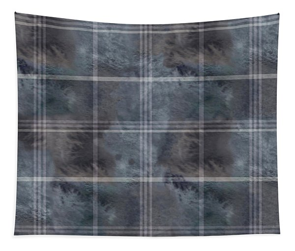 Moody Blue Plaid Tapestry