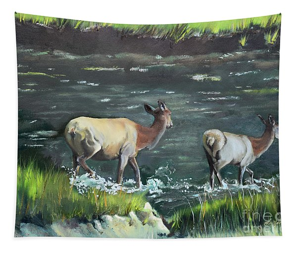 Mother Elk And Calf Tapestry