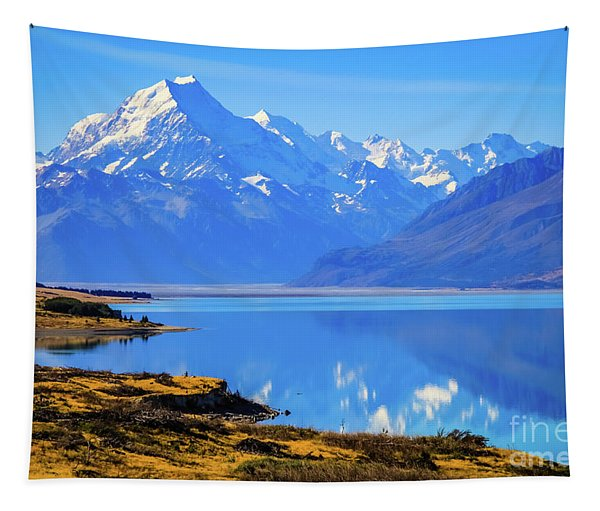 Mount Cook Overlooking Lake Pukaki,  New Zealand Tapestry